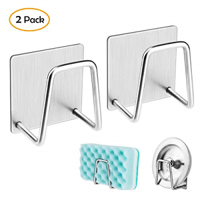 2 Pack Adhesive Sponge Holder Sink Caddy for Kitchen AccessoriesStainless Steel