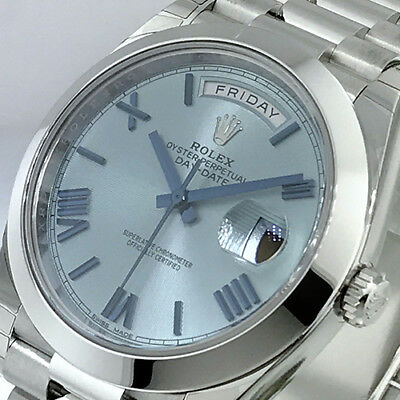ROLEX DAY-DATE 228206 PRESIDENTIAL 40 mm PLATINUM ICE BLUE QUADRANT MOTIF