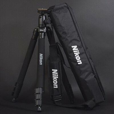 "Genuine Nikon Mirrorless D-SLR SLR RF Camera Tripod 63"" w/ Head+Plate+Case+Strap"