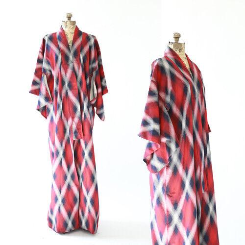Vintage 40s IKAT Lattice silk Japanese KIMONO wedding coat Jacket Robe