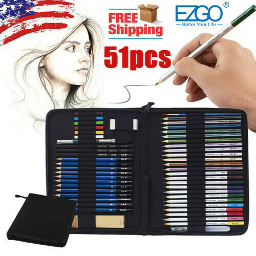 51pcs Professional Drawing Artist Kit Set Pencils and Sketch Charcoal Art Tools
