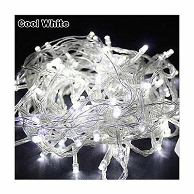 33FT/10M COOL WHITE 100 LED Twinkle Fairy String Party Light 8 Modes Tail Plug