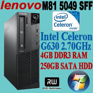 LENOVO ThinkCentre M81 5049 Celeron G630 2.7GHZ 4GB 250GB WIN-7 Nunawading Whitehorse Area Preview