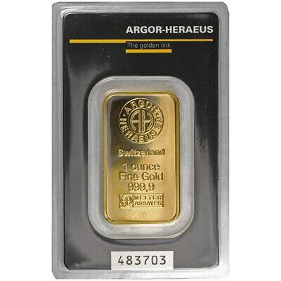 Best  1 OZ ARGOR-HERAEUS GOLD BAR (NEW W/ ASSAY)