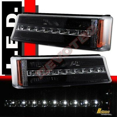 03-06 Chevy Silverado Avalanche 1500 2500 Pickup Black LED Bumper Signal Lights