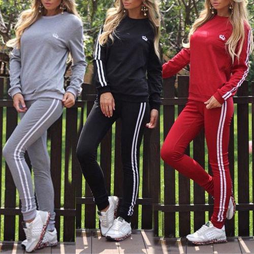 Damen Sportanzug Jogginganzug Trainingsanzug Fitness Sports Anzug Pullover Hosen
