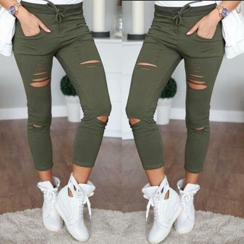 Fashion Womens High Waisted Skinny Ripped Denim Pants Slim Pencil Jeans Trousers