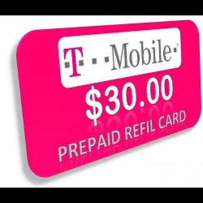 T-Mobile Prepaid $30 Refill Card 100 75 50 25 15 10