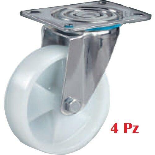 Set Kit 4 Ruote Nylon Rotelle Ruota Rotella Per Carrello Staffa Girevole moc