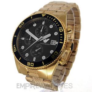 new mens emporio armani gold chrono watch ar5857 rrp. Black Bedroom Furniture Sets. Home Design Ideas
