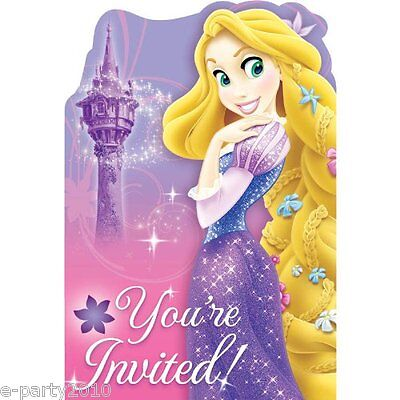 TANGLED Sparkle INVITATIONS (8) ~ Princess Birthday Party Supplies Stationery - Tangled Invitations