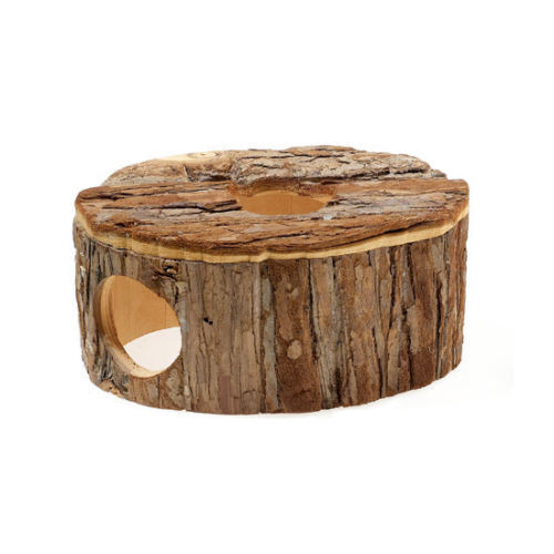 Classic Rustic Fun Natural Wood Oval Wooden House Gerbil Hamster Mouse Hideout