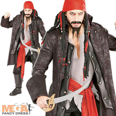 Pirate Caribbean Captain Jack Sparrow + Wig Mens Fancy Dress Adults Costume BN, used for sale  Shipping to United States