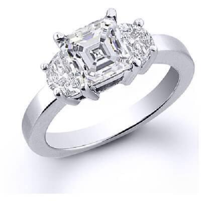 4.00 Three Stone Asscher Cut w/ Half Moon Cut Diamond Engagement Ring G, VS2 GIA