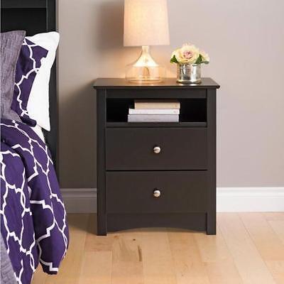 منضدة جانب السرير جديد Night Stand Broadway Black 2 drawer Open Cubbie Nightstand Bedroom Furniture