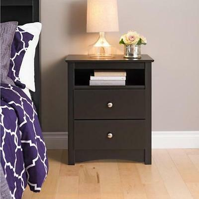 Night Stand Broadway Black 2 drawer Open ...