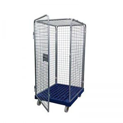 Gittercontainer Gitterrolli 4 Seitig mit Dach Kunststoffboden Traglast 500 KG
