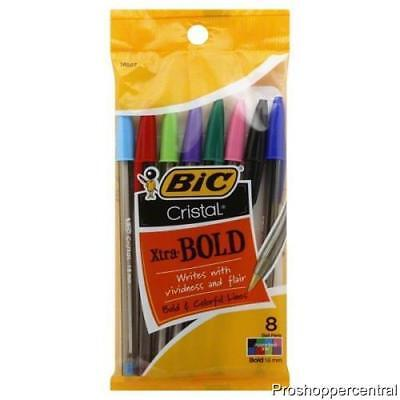 New Bic Cristal Xtra-bold 1.6 Mm Ball Point Pen-bold Colorful-8 Pack