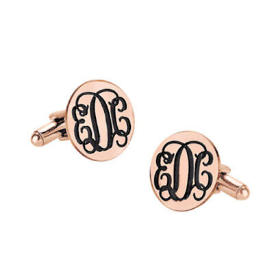 Custom Engraved Initials Groom Wedding Cufflinks in Rose Gold Plated Silver