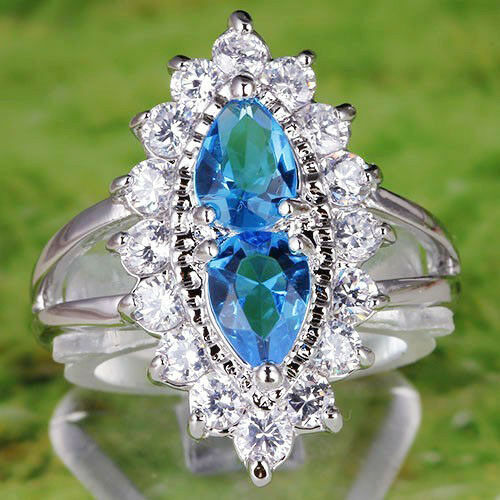 Stylish-Pear-Cut-Blue-Topaz-White-Topaz-Gemstone-Silver-Ring-Size-6-7-9
