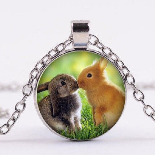 "RABBIT EASTER cute ANIMAL charm pendant Silver 20"" Necklace"
