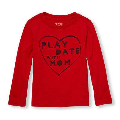 NWT The Childrens Place Play Date With Mom Heart Baby Boys Red Shirt Valentines