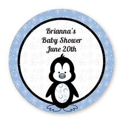 Penguin Blue - Round Personalized Baby Shower Sticker - 6 sizes