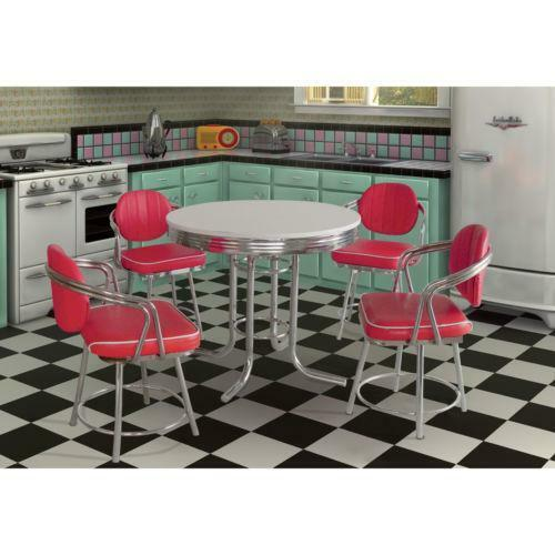 Red Kitchen Table And Chairs Set: Red Chrome Table
