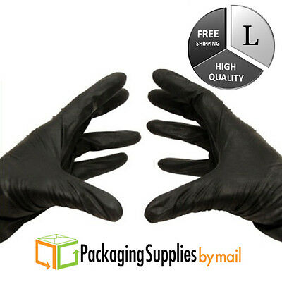 100 Pcs Black Nitrile Glove 4 Mil Medical Exam Powder-Free Gloves Large by PSBM