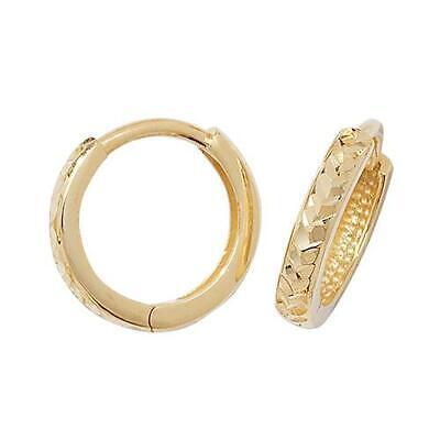 9ct Yellow Gold Diamond-cut Design Small Hinged Huggie/Hoops Womens Earrings Box 9 Cut Design Earrings