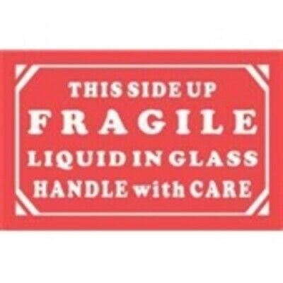 1000 - Dl1290 5x3 This Side Up Fragile Liquid In Glass Handle With Care Label