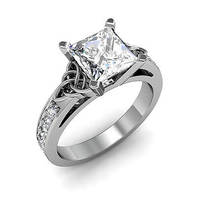 1.50ct. Natural Princess Cut Celtic Knot Design Diamond Engagement Ring - GIA