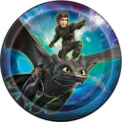 HOW TO TRAIN YOUR DRAGON 3 LARGE PAPER PLATES (8) ~ Birthday Party Supplies Blue (Train Birthday)