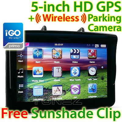 "5"" GPS Car Navigation System Wireless Reversing Camera Sat Nav Tunez iGO Primo"