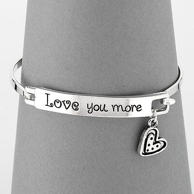 Simple Silver Love You More Message Heart Charm Bangle - Message Bracelets