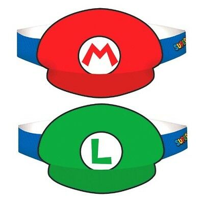 - SUPER MARIO PARTY PAPER HATS (8) ~ Birthday Supplies Favors Luigi Nintendo Kart