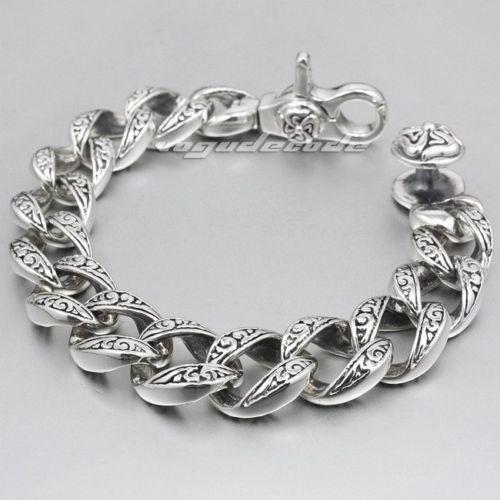 Mens Sterling Silver Biker Bracelet | eBay