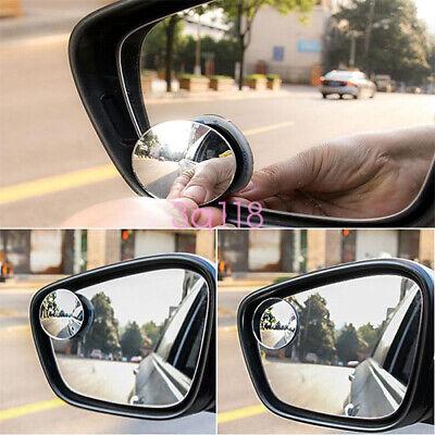 2Pcs Adjustable Convex Side Mirror Small Round 360° Rotation Blind Spot Mirror