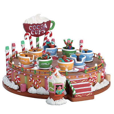 Lemax Christmas COCOA CUPS - Animated Carnival Ride w/ Sound & Lighting