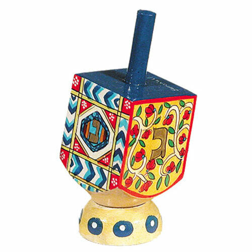 Hanukkah Hand Painted Dreidel with Stand - Jewish Chanukah Gift - Made in Israel