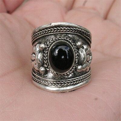 Large Vintage Adjustable Tibetan Natural Onyx Gemstone Dotted Dorje Amulet Ring