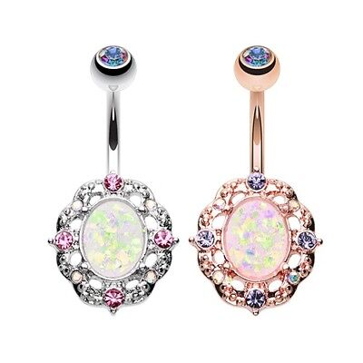 Grand Florid Opal Sparkle Belly Ring AB Pink Dangle Navel Body Jewelry Gem CZ (Gem Sparkle Belly Ring)