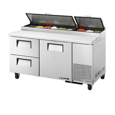 True Tpp-67-d2 Pizza Prep Table For 9 Pans Two Drawer One Door On Right 67w