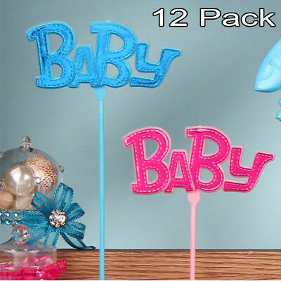 12 Baby Shower Picks Cake Centerpiece Table Decoration Favors Girl Boy Blue Pink (Pink Centerpieces)