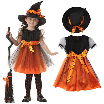 Halloween Children Kids Girls Witch Costume Tutu Tulle Fancy Dress Set
