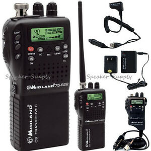 Midland 75-822 Portable Handheld CB Radio Home Adapter AC DC NOAA Hazard Weather