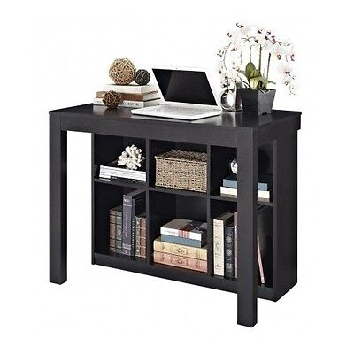 Home Credenza - Computer Desk For Small Spaces Writing Credenza Black Home Office Workstation