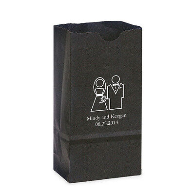 50 Stylized Bride Groom Personalized Printed Wedding Favor Bags Candy Buffet
