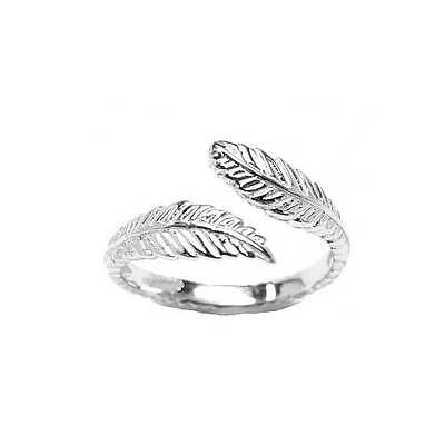 925 Sterling Silver Toe Ring Feather Wrap Wavy Jewelry Adjustable Size