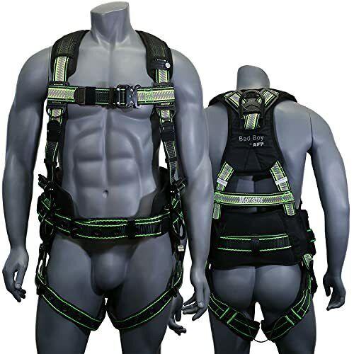 AFP Fall Protection Safety Harness Premium Hi-Viz Lime Black Reflective Bad Boy